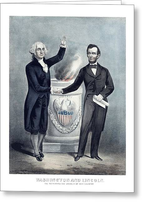 Revolutionary War Drawings Greeting Cards - Washington and Lincoln Greeting Card by War Is Hell Store