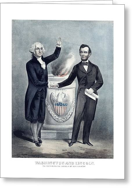 American Civil War Drawings Greeting Cards - Washington and Lincoln Greeting Card by War Is Hell Store