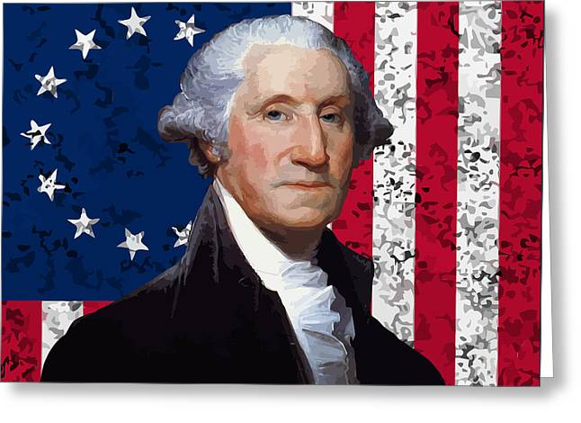 Continental Greeting Cards - Washington and The American Flag Greeting Card by War Is Hell Store