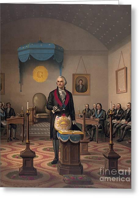 Washington As A Master Mason Greeting Card by American School