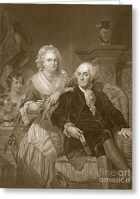 First Lady Drawings Greeting Cards - Washington at Home Greeting Card by Alonzo Chappel