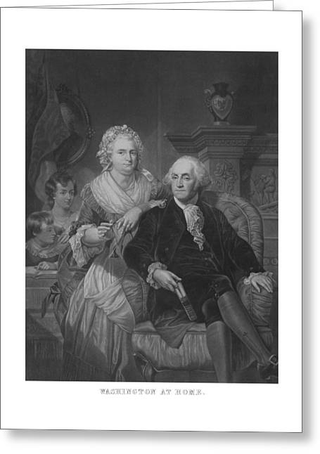 Founding Fathers Mixed Media Greeting Cards - Washington At Home Greeting Card by War Is Hell Store