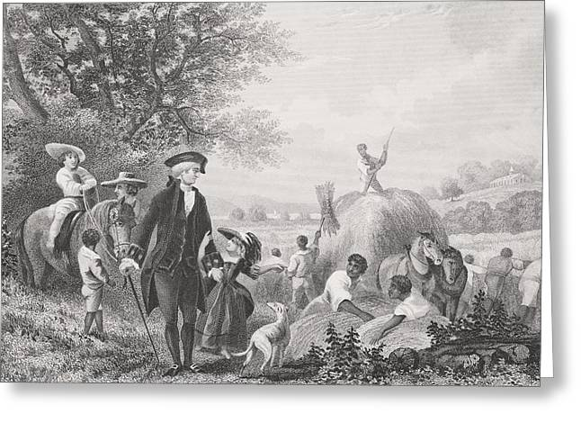 Americana Drawings Greeting Cards - Washington At Mount Vernon Usa. George Greeting Card by Ken Welsh