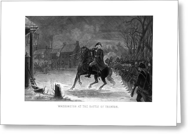 Us History Drawings Greeting Cards - Washington At The Battle Of Trenton Greeting Card by War Is Hell Store