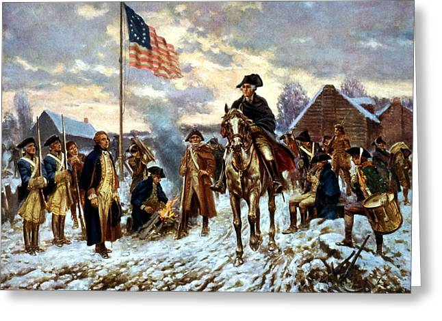 Politicians Paintings Greeting Cards - Washington at Valley Forge Greeting Card by War Is Hell Store