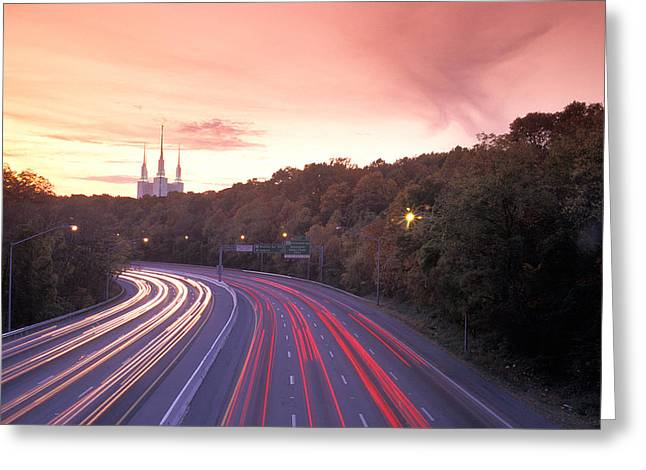 Washington Beltway Traffic, Route 495 Greeting Card by Richard Nowitz