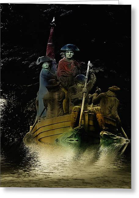 Battle Of Trenton Greeting Cards - Washington Crossing the Delaware in Color Greeting Card by Bill Cannon