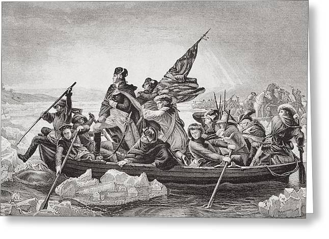 White River Scene Drawings Greeting Cards - Washington Crossing The Delaware Near Greeting Card by Vintage Design Pics
