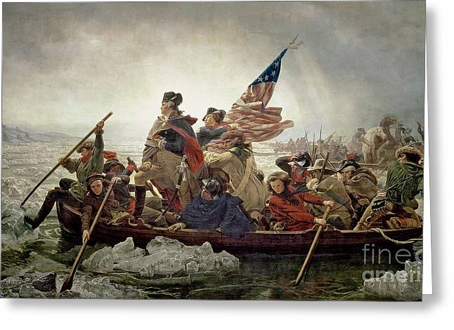 Rowers Paintings Greeting Cards - Washington Crossing the Delaware River Greeting Card by Emanuel Gottlieb Leutze