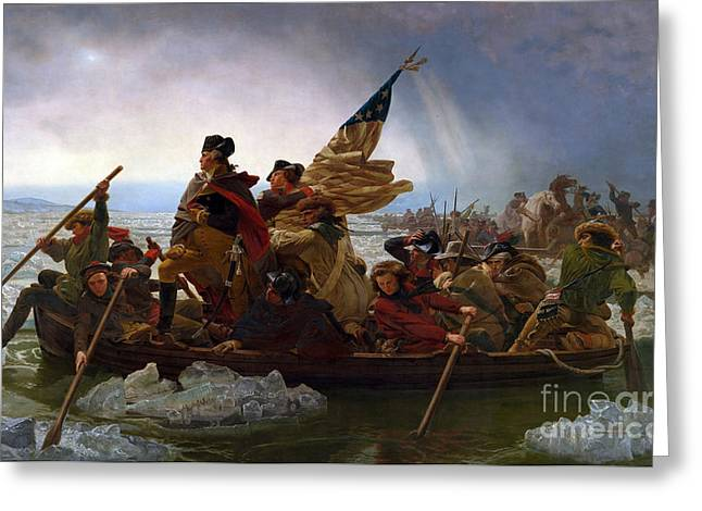 Rowers Paintings Greeting Cards - Washington Crossing the Delaware River Greeting Card by Emmanuel Gottlieb Leutze
