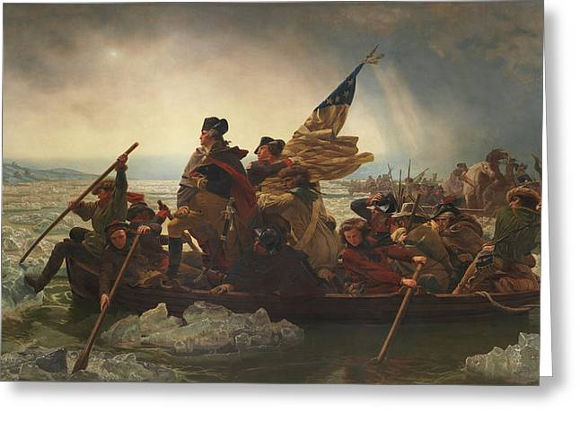 Politicians Paintings Greeting Cards - Washington Crossing The Delaware Greeting Card by War Is Hell Store