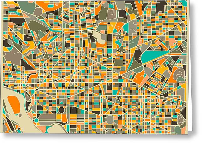 Street Artist Greeting Cards - Washington Dc Map Greeting Card by Jazzberry Blue