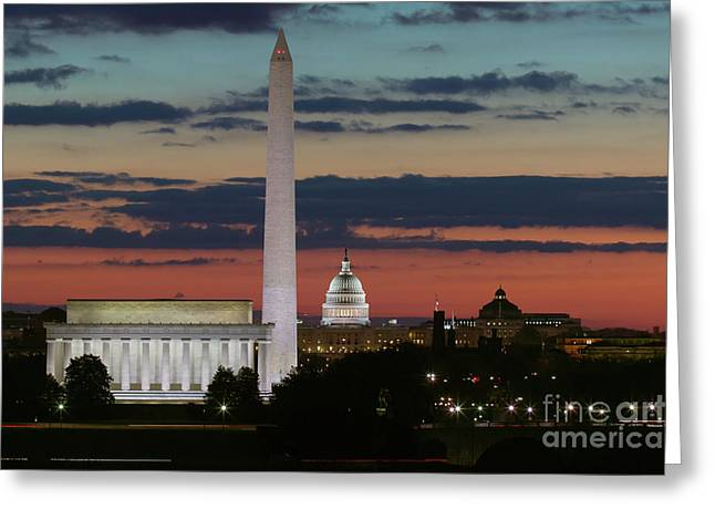 Washington Dc Landmarks At Sunrise I Greeting Card by Clarence Holmes