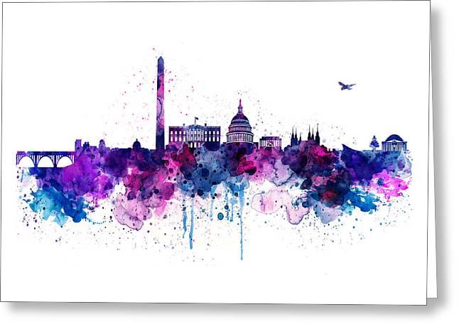 Washington Dc Skyline Greeting Card by Marian Voicu