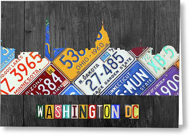 Washington Dc Skyline Recycled Vintage License Plate Art Greeting Card by Design Turnpike
