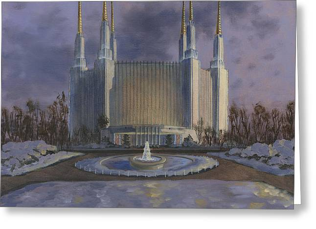 Washington DC Temple Greeting Card by Jeff Brimley