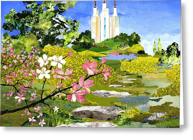 Capitol Flowers Greeting Cards - Washington DC Temple Greeting Card by Robin Birrell
