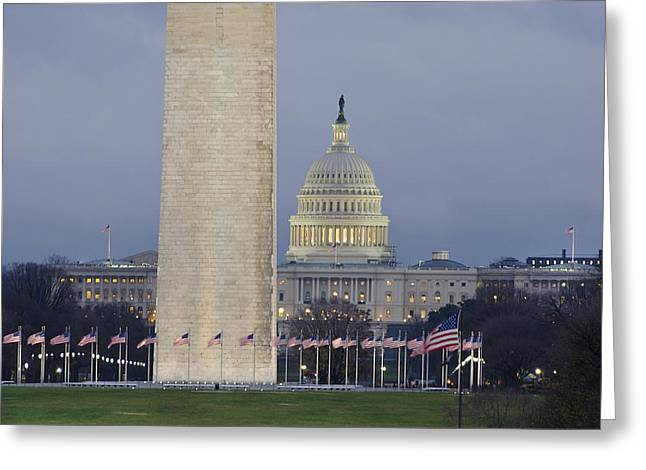 Flags Flying Greeting Cards - Washington Monument and United States Capitol Buildings - Washington DC Greeting Card by Brendan Reals