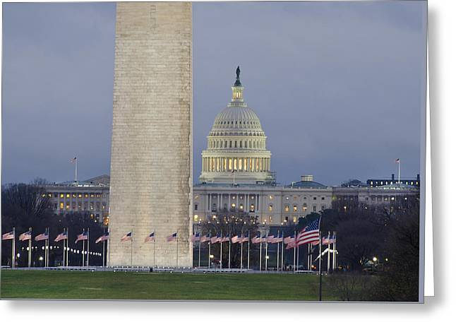 Washington Monument And United States Capitol Buildings - Washington Dc Greeting Card by Brendan Reals