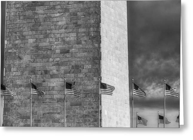 Memorial Greeting Cards - Washington Monument And USA Flags BW Greeting Card by Susan Candelario