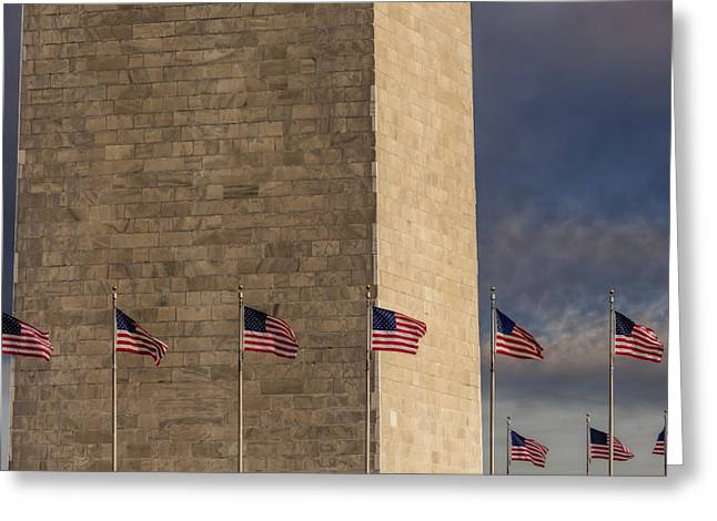 Washington Memorial Greeting Cards - Washington Monument And USA Flags Greeting Card by Susan Candelario