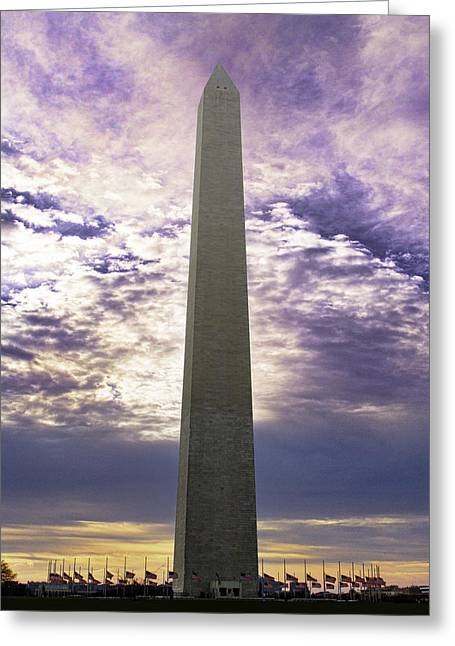 Washington Monument Half Staff Greeting Card by Rebecca Snyder