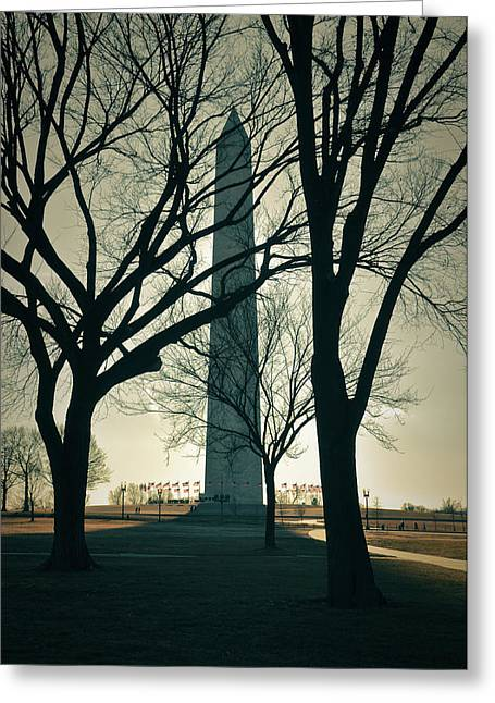 Washington Monument On A Winter Day Greeting Card by Brandon Bourdages