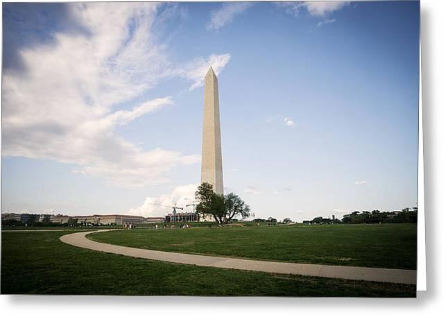 Historic Statue Greeting Cards - Washington Monument Scenic Greeting Card by Daniel Portalatin