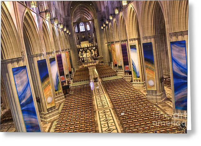 Episcopalian Greeting Cards - Washington National Cathedral IV Greeting Card by Irene Abdou