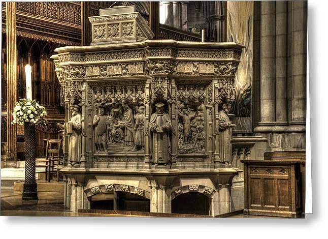 Religion Greeting Cards - Washington National Cathedral  v1 Greeting Card by John Straton