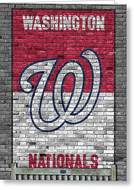 Washington Nationals Brick Wall Greeting Card by Joe Hamilton