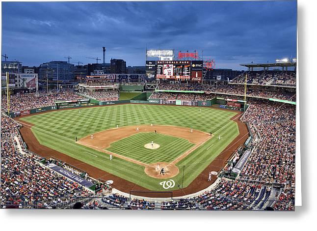 Washington Dc Baseball Greeting Cards - Washington Nationals Park - DC Greeting Card by Brendan Reals
