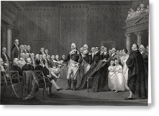 Resigned Greeting Cards - Washington Resigning His Commission At Greeting Card by Ken Welsh