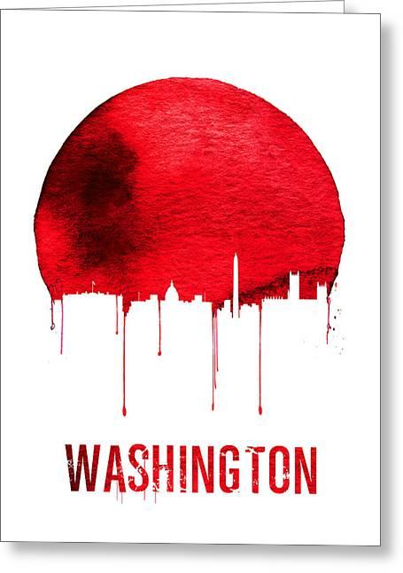 Washington Skyline Red Greeting Card by Naxart Studio