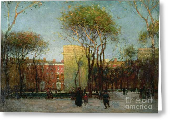 Past Paintings Greeting Cards - Washington Square New york Greeting Card by Paul Cornoyer