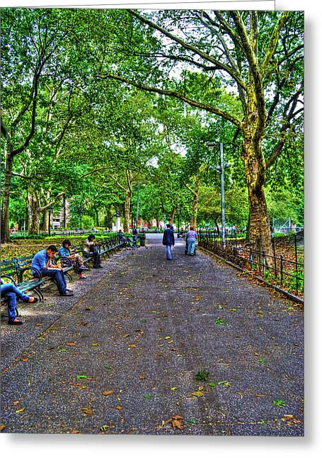 Washington Square Park Greeting Cards - Washington Square Park Greeting Card by Randy Aveille