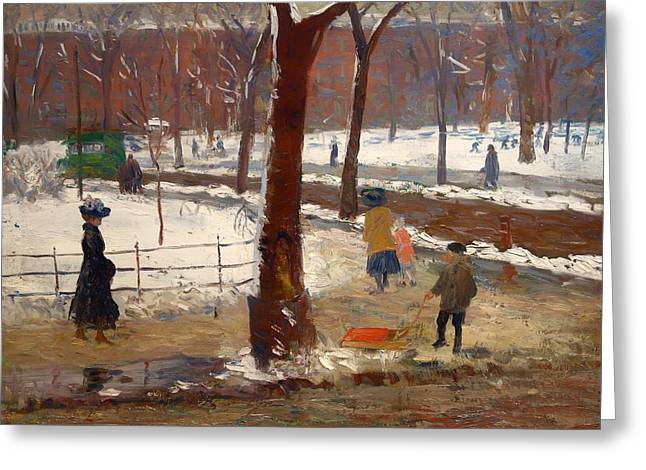 Sled.fence Greeting Cards - Washington Square Winter Greeting Card by William James Glackens