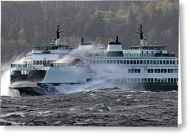 Boats In Water Greeting Cards - Washington State Ferry Cathlamet  Greeting Card by Jack Pumphrey