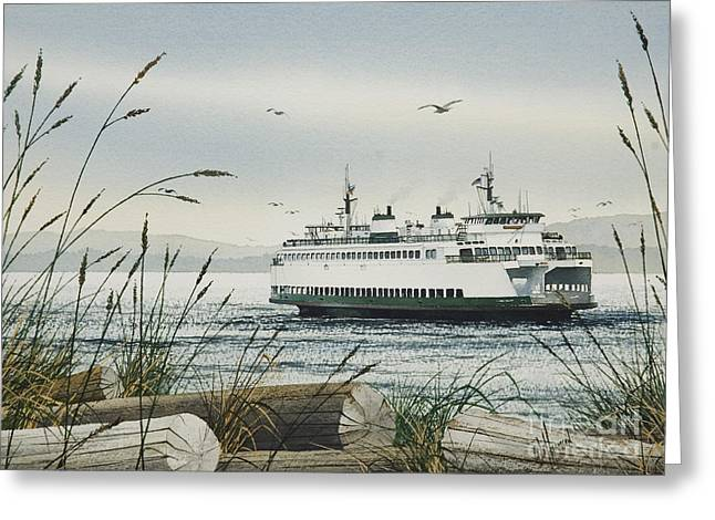 Washington State Greeting Cards - Washington State Ferry Greeting Card by James Williamson