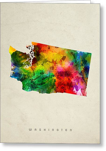 Washington State Map 01 Greeting Card by Aged Pixel