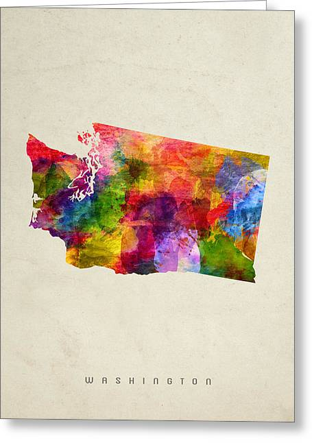 Washington State Map 02 Greeting Card by Aged Pixel
