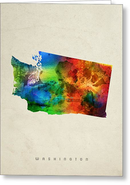 Washington State Map 03 Greeting Card by Aged Pixel