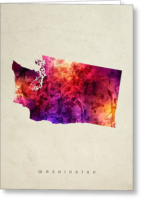 Washington State Map 05 Greeting Card by Aged Pixel
