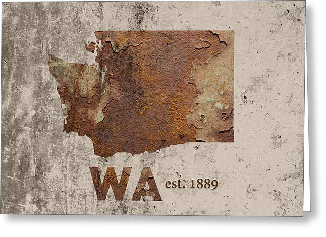 Tacoma Greeting Cards - Washington State Map Industrial Rusted Metal on Cement Wall with Founding Date Series 042 Greeting Card by Design Turnpike