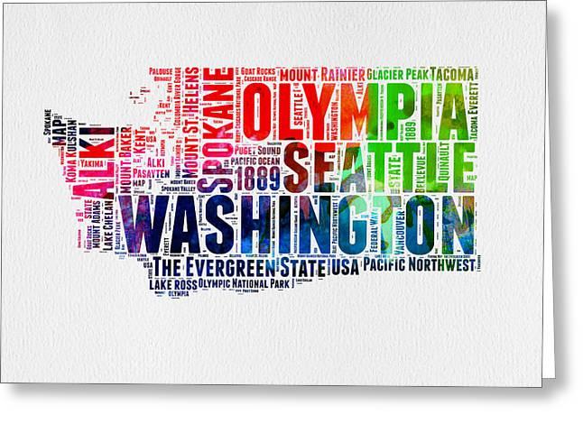 Spokane Greeting Cards - Washington Watercolor Word Cloud Map Greeting Card by Naxart Studio