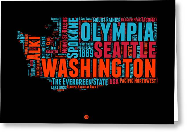 Washington Word Cloud Map 1 Greeting Card by Naxart Studio