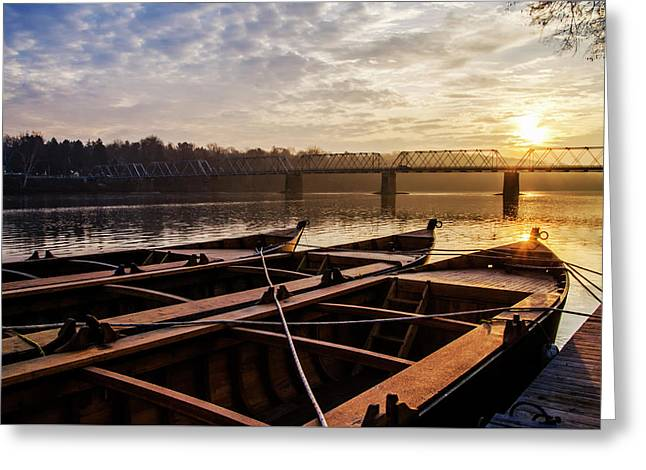 Washingtons Crossing Flat Boats - Bucks County Pennsylvania Greeting Card by Bill Cannon