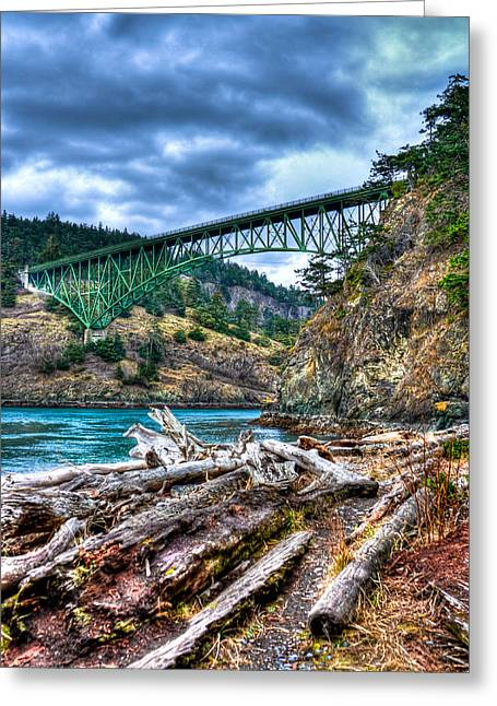 Deception Beach Greeting Cards - Washingtons Deception Pass Bridge Greeting Card by David Patterson