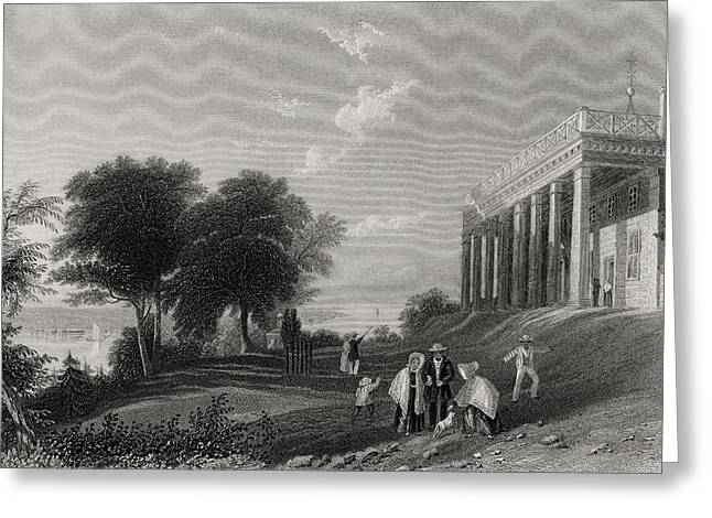 Black American Drawings Greeting Cards - Washingtons House Mount Vernon Usa Greeting Card by Ken Welsh