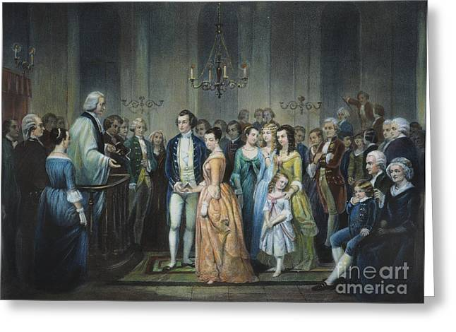 First-lady Photographs Greeting Cards - Washingtons Marriage Greeting Card by Granger